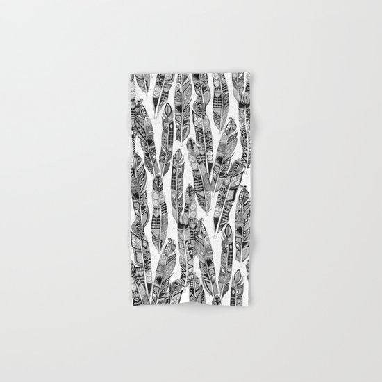 geo feathers black white Hand & Bath Towel