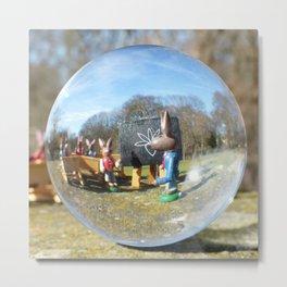 Easter Bunny school, Glass Ball Photography Metal Print