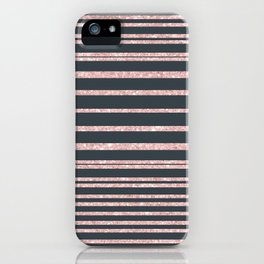 Elegant mauve gray pink glitter striped pattern iPhone Case