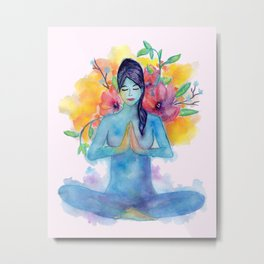 Namaste Watercolor Metal Print