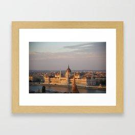 Budpest Sunset over Parliament Framed Art Print