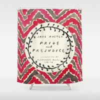 jane austen Shower Curtains featuring Remember Jane Austen (4) - Pride and Prejudice by MW. [by Mathius Wilder]