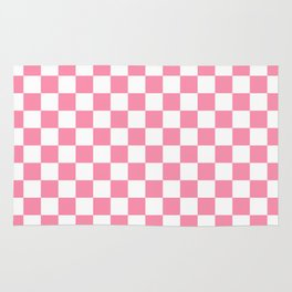 Small Checkered - White and Flamingo Pink Rug
