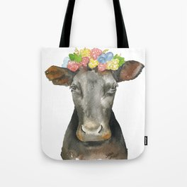 Black Cow with a Floral Crown Tote Bag