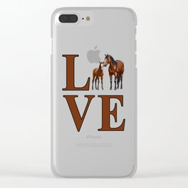 Love Horses Bay Mare and Cute Foal Clear iPhone Case