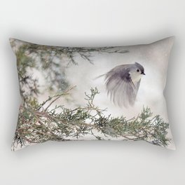 Fly-away Tufted Titmouse Rectangular Pillow