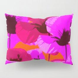Pink And Red Poppies On A Orange Background - Summer Juicy Color Palette - Retro Mood Pillow Sham