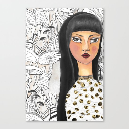 The girl with the red lips Canvas Print