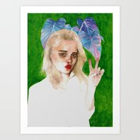 sky ferreira Art Prints featuring SKY FERREIRA PLUS PLANTS by Jethro Lacson