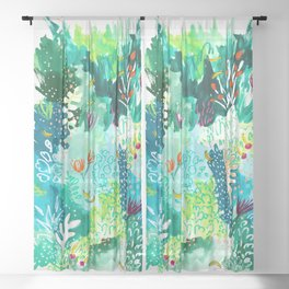 Twice Last Wednesday: Abstract Jungle Botanical Painting Sheer Curtain
