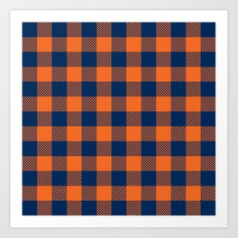 Buffalo Plaid - Navy Blue & Orange Art Print