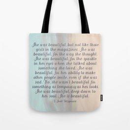 She Was Beautiful By F. Scott Fitzgerald 4 #painting #minimalism #poem Tote Bag
