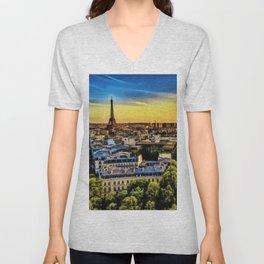 Eiffel Tower Paris City Landscape Unisex V-Neck