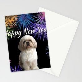 Top Model Paul Shih Tzu Dog - Happy New Year Fireworks Stationery Cards