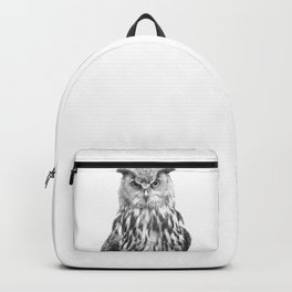 Black and white owl animal portrait Backpack