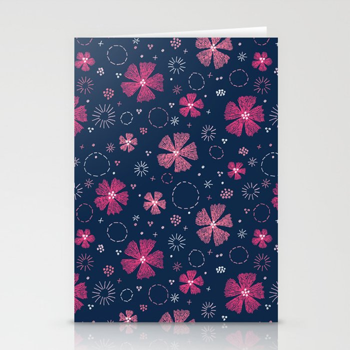 Carthusian Pink Embroidery Stationery Cards