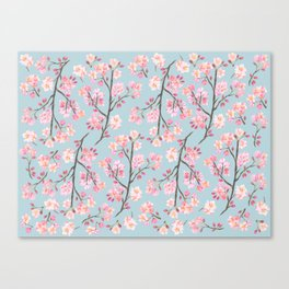 Cherry Blossom Pattern on Sky Blue Canvas Print