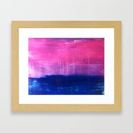 Bisexual Flag: abstract acrylic piece in pink, purple, and blue #pridemonth Framed Art Print