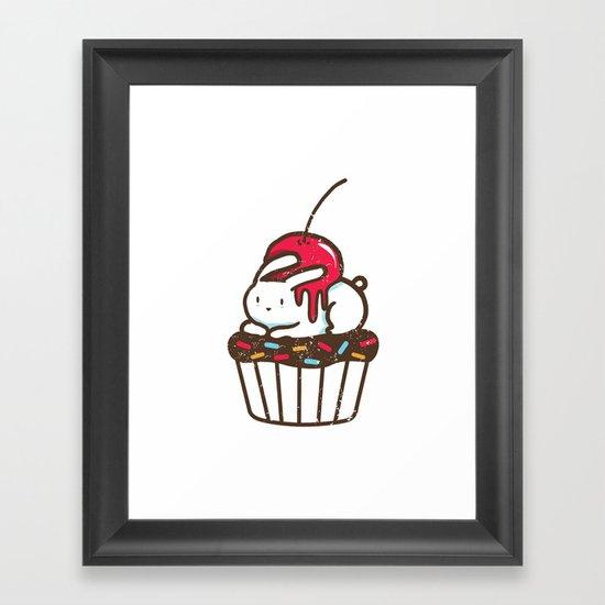 Chubby Bunny on a cupcake Framed Art Print