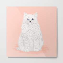 Fluffy white cat sitting cat gifts perfect cat lady presents white cat owners must have pet decor  Metal Print