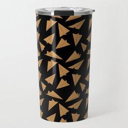 Paper Planes Pattern | Golden Black Travel Mug