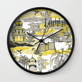Indian Toile (Ultimate Gray and Illuminating) Wall Clock