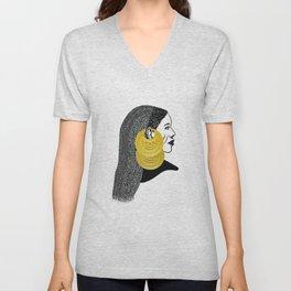 Girl with القمر بوبا earrings Unisex V-Neck