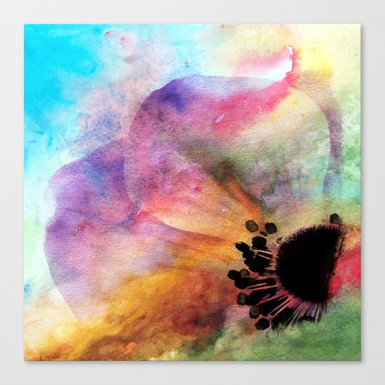 Abstract anemone one colorful  watercolor Canvas Print
