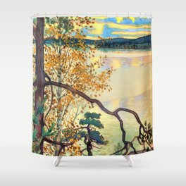 13,000px,500dpi-Akseli Gallen-Kallela - A lake view with stamp and inscription - Digital Remastered Edition Shower Curtain