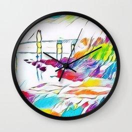 Newport Bridge Portrait by Jeanpaul Ferro Wall Clock