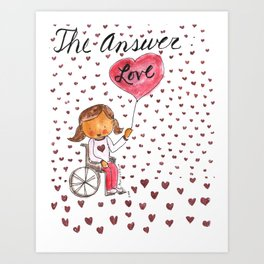 The Answer:  Love in Pigtails Art Print
