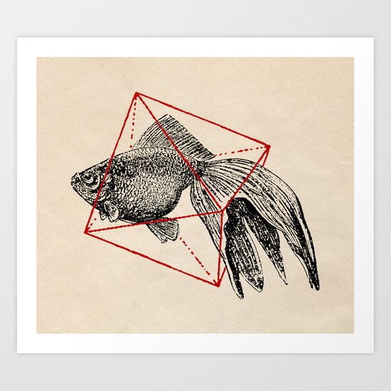 Fish In Geometrics III Art Print