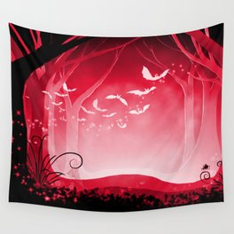 Dark Forest at Dawn in Ruby Wall Tapestry