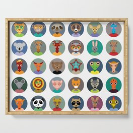 Set of animals faces circle icons set in Trendy Flat Style. zoo Serving Tray