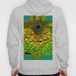 TEAL PEACOCK FEATHERS GOLDEN  DESIGN Hoody