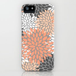 Floral Pattern, Coral, Gray, White iPhone Case