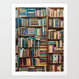Bookshelf with Colourful Books Art Print