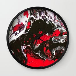 Drama with black, white, and red. Wall Clock