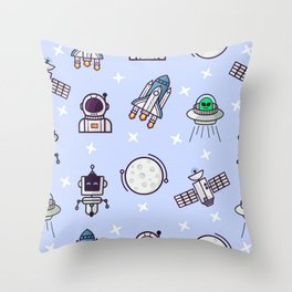 Seamless pattern with space theme Throw Pillow