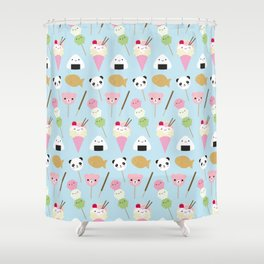 Japanese Kawaii Snacks Shower Curtain