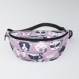 Cuddly Tea Time // white navy & light orchid pink animal mugs Fanny Pack