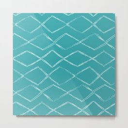 Aqua Teal Turquoise Tribal Chevron Horizontal Stripe Pattern - Aquarium SW 6767 Metal Print