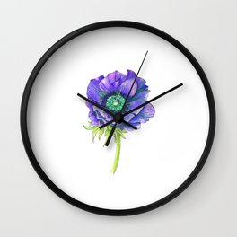 Blue Floral Elements Wall Clock