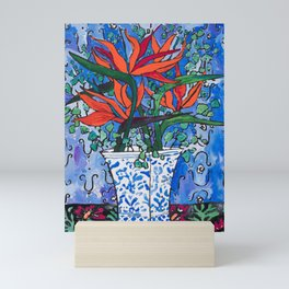 Birds of Paradise in Blue After Matisse Mini Art Print