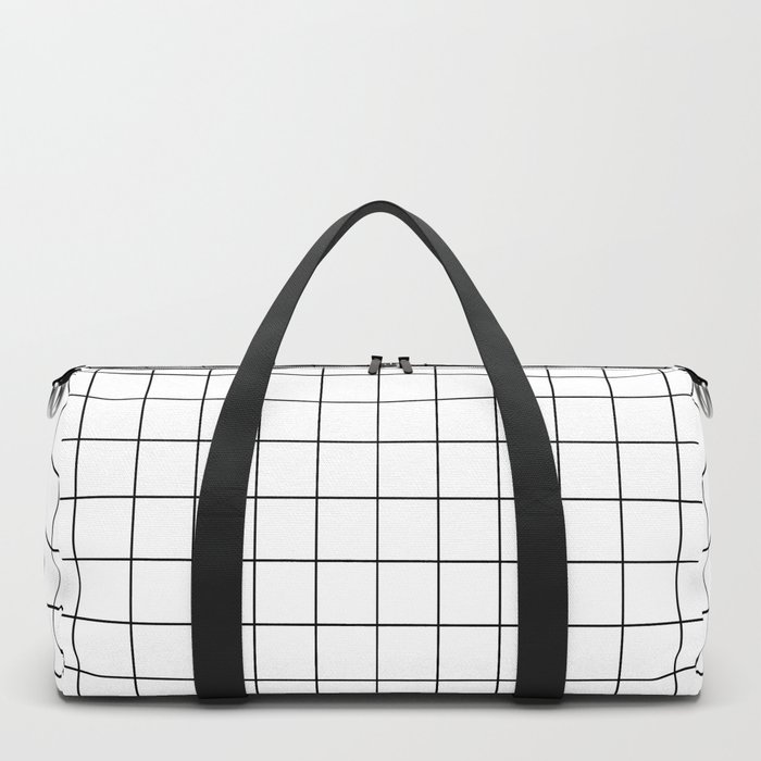 Grid Simple Line White Minimalist Duffle Bag