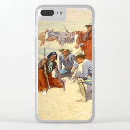"Western Art ""A Map in the Sand"" by Frederic Remington Clear iPhone Case"