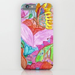 Colourful Butterfly among colourful flowers iPhone Case