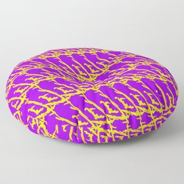 Wicker pattern of squiggles and yellow ropes on a violet background. Floor Pillow