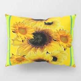 Black Sunflowers Pattern  Lime Color Floral Art Pillow Sham