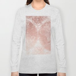 Antique World Map White Rose Gold Long Sleeve T-shirt